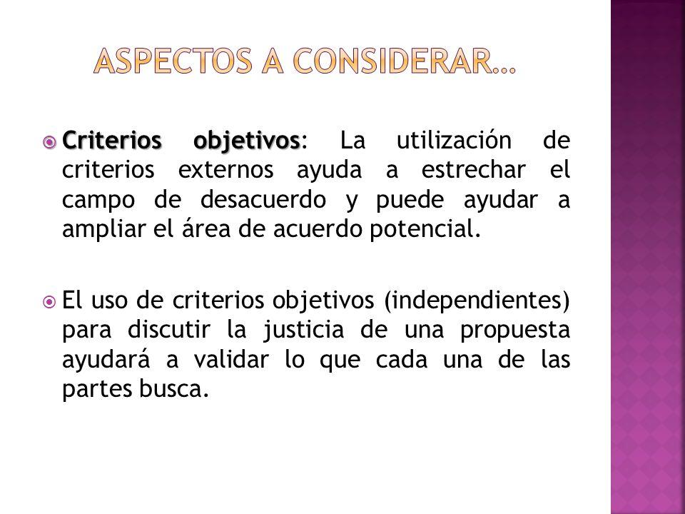Criterios objetivos Criterios objetivos: La utilización de criterios externos ayuda a estrechar el campo de desacuerdo y puede ayudar a ampliar el área de acuerdo potencial.