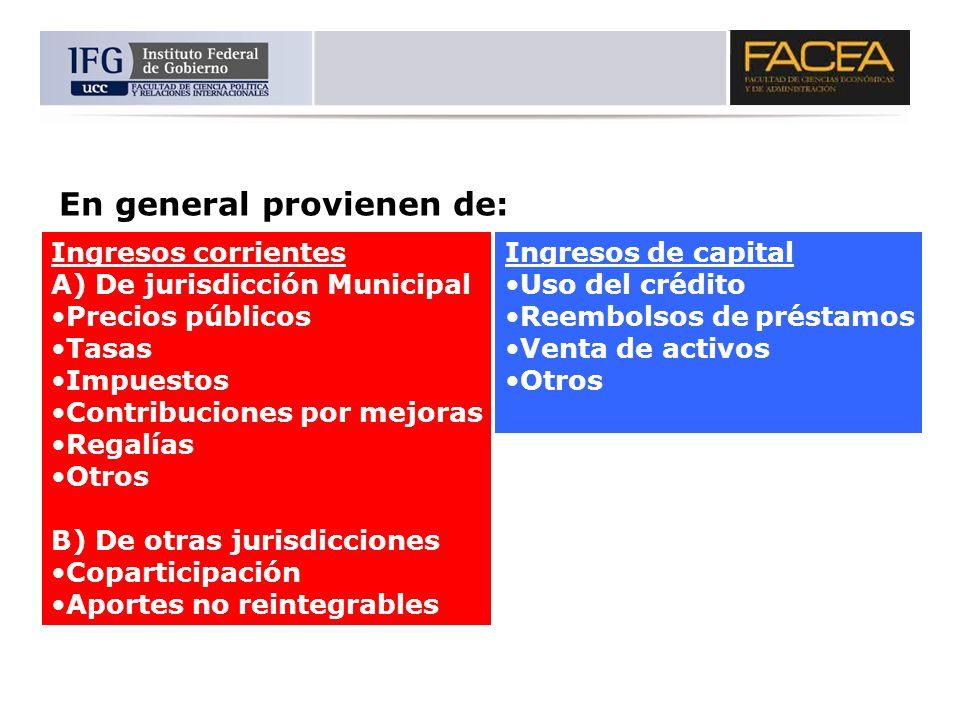 En general provienen de: Ingresos corrientes A) De jurisdicción Municipal Precios públicos Tasas Impuestos Contribuciones por mejoras Regalías Otros B