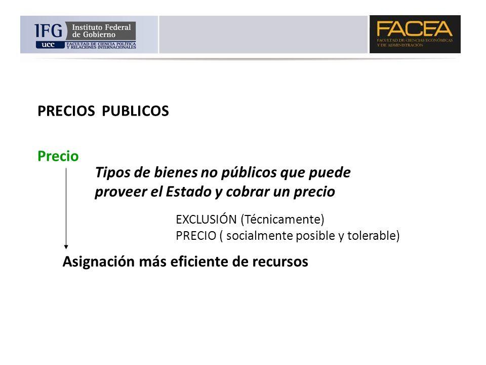 PRECIOS PUBLICOS Precio EXCLUSIÓN (Técnicamente) PRECIO ( socialmente posible y tolerable) Tipos de bienes no públicos que puede proveer el Estado y c