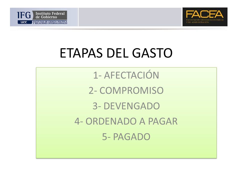 ETAPAS DEL GASTO 1- AFECTACIÓN 2- COMPROMISO 3- DEVENGADO 4- ORDENADO A PAGAR 5- PAGADO 1- AFECTACIÓN 2- COMPROMISO 3- DEVENGADO 4- ORDENADO A PAGAR 5