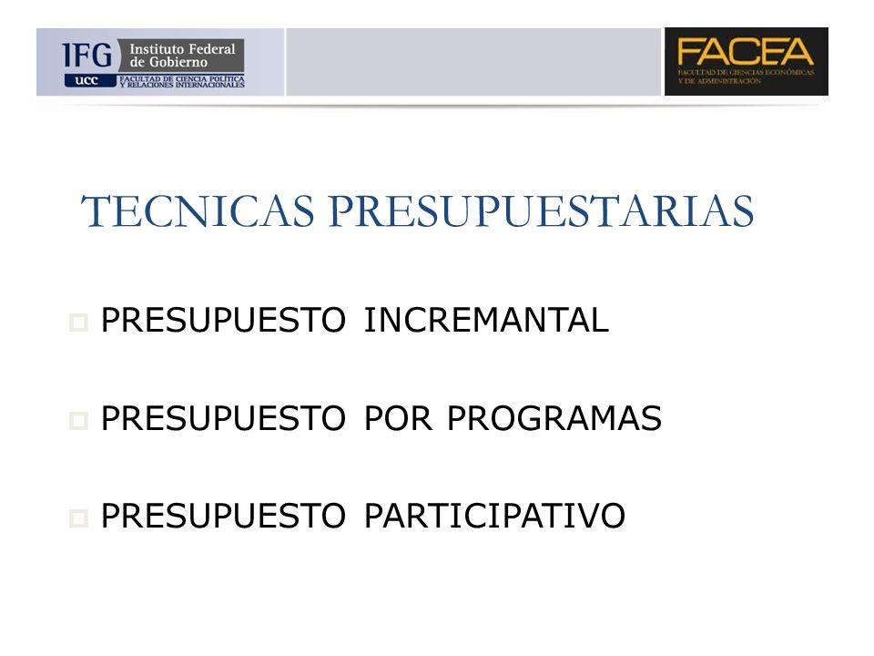 TECNICAS PRESUPUESTARIAS PRESUPUESTO INCREMANTAL PRESUPUESTO POR PROGRAMAS PRESUPUESTO PARTICIPATIVO