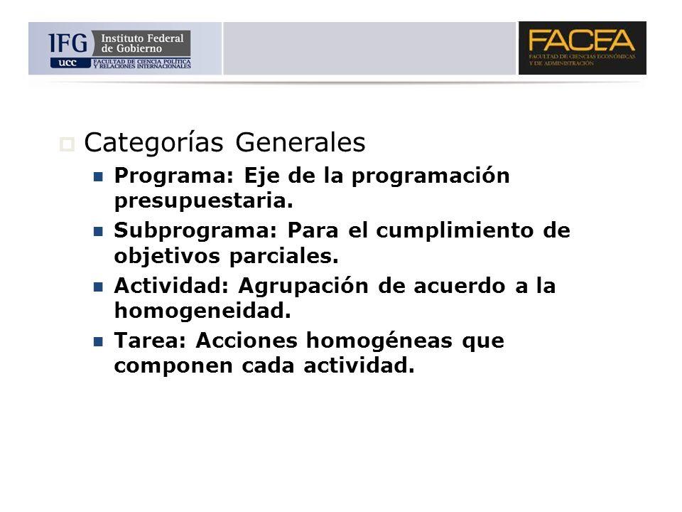 Categorías Generales Programa: Eje de la programación presupuestaria. Subprograma: Para el cumplimiento de objetivos parciales. Actividad: Agrupación