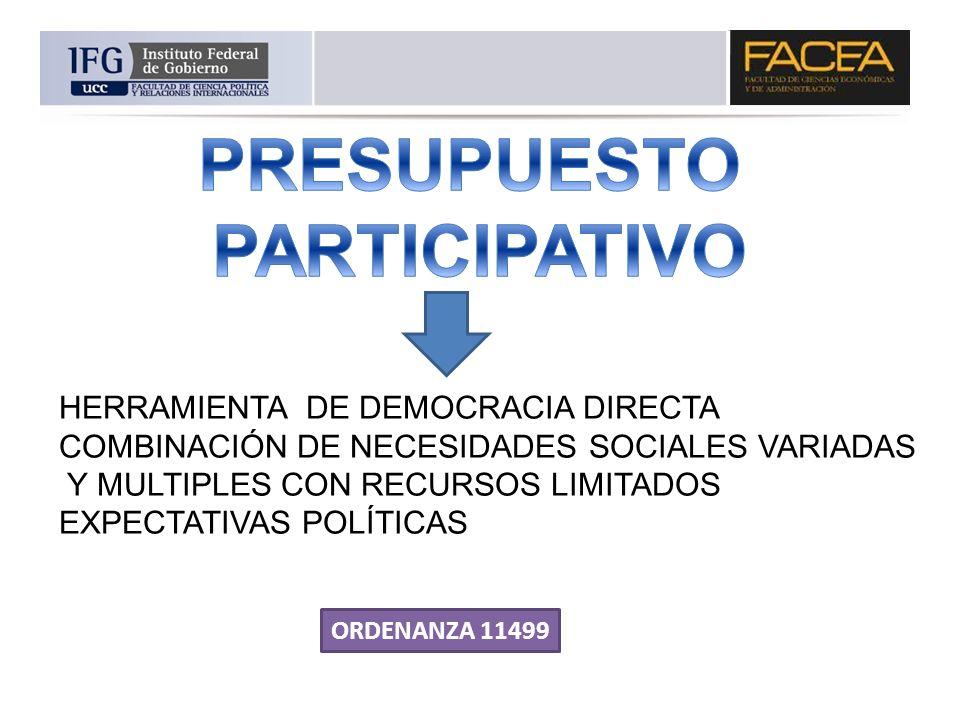 HERRAMIENTA DE DEMOCRACIA DIRECTA COMBINACIÓN DE NECESIDADES SOCIALES VARIADAS Y MULTIPLES CON RECURSOS LIMITADOS EXPECTATIVAS POLÍTICAS ORDENANZA 114