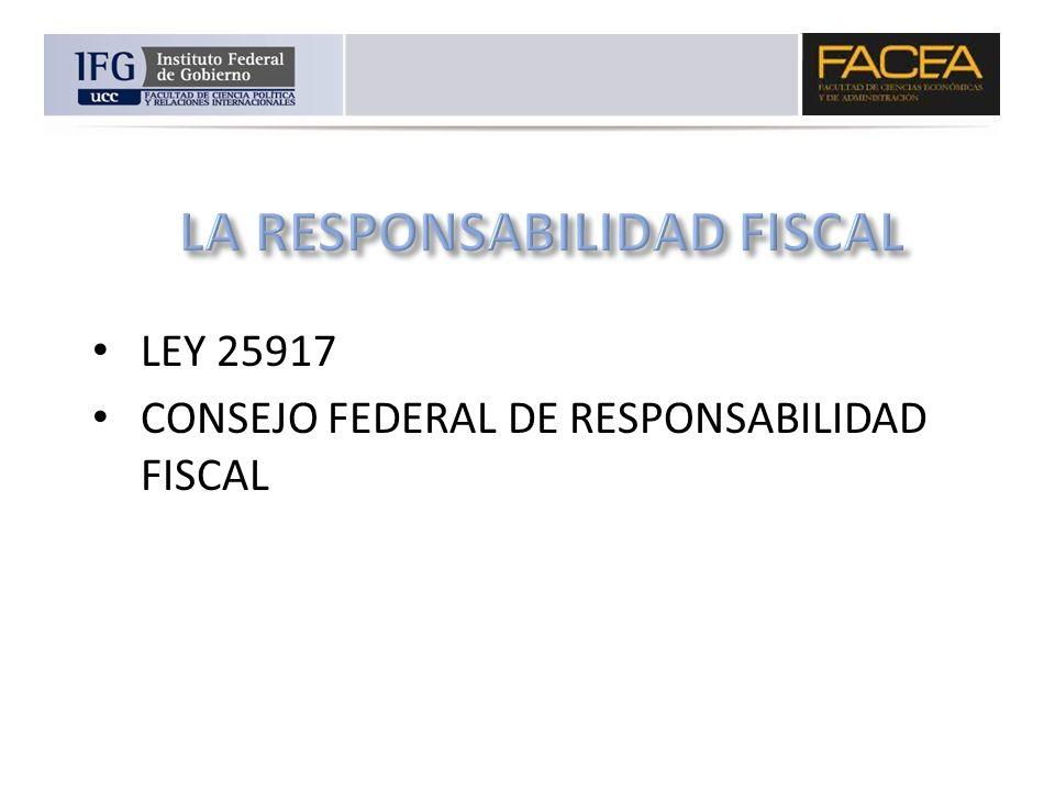 LEY 25917 CONSEJO FEDERAL DE RESPONSABILIDAD FISCAL