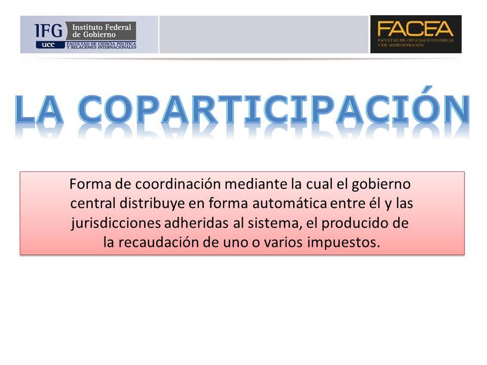 Forma de coordinación mediante la cual el gobierno central distribuye en forma automática entre él y las jurisdicciones adheridas al sistema, el produ