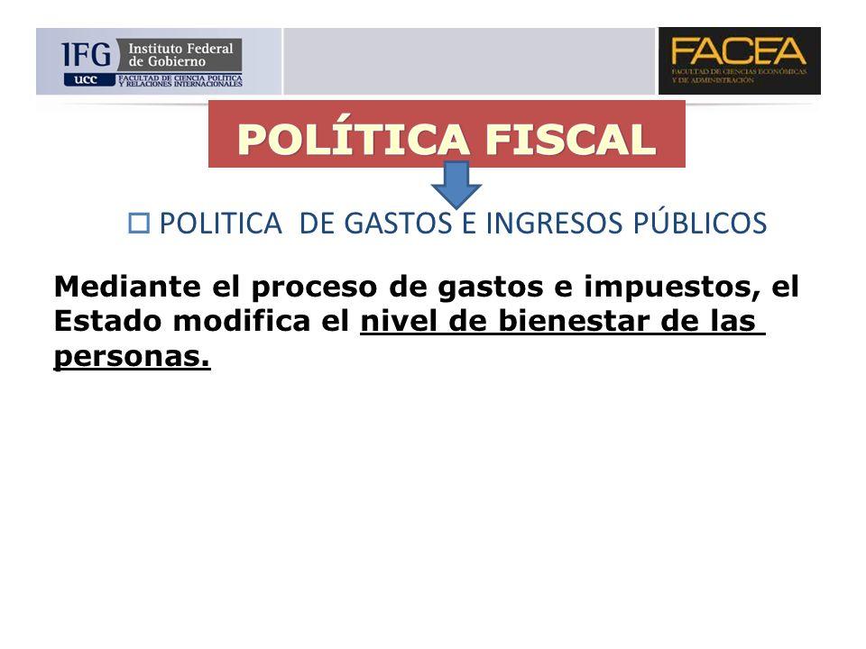 POLITICA DE GASTOS E INGRESOS PÚBLICOS Mediante el proceso de gastos e impuestos, el Estado modifica el nivel de bienestar de las personas.