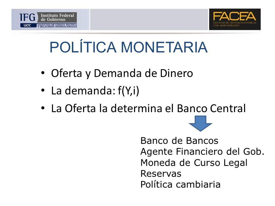 Oferta y Demanda de Dinero La demanda: f(Y,i) La Oferta la determina el Banco Central POLÍTICA MONETARIA Banco de Bancos Agente Financiero del Gob. Mo