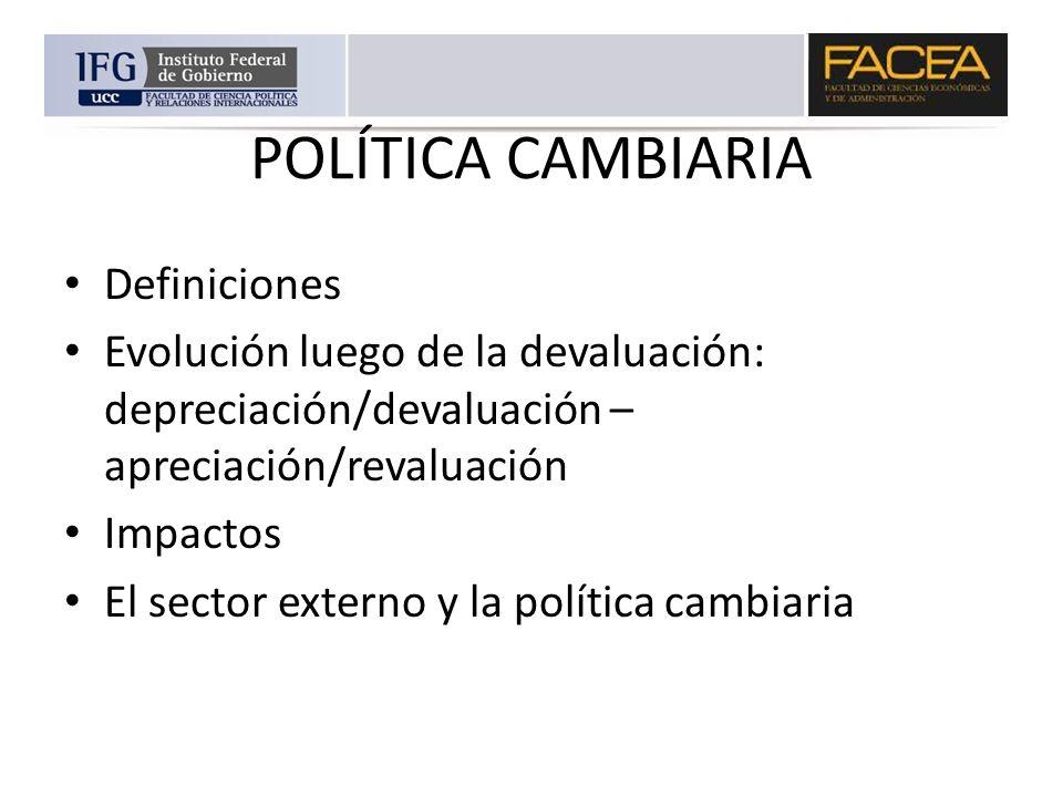 POLÍTICA CAMBIARIA Definiciones Evolución luego de la devaluación: depreciación/devaluación – apreciación/revaluación Impactos El sector externo y la
