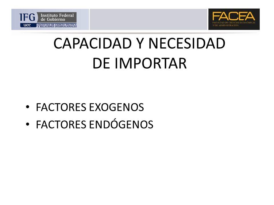 CAPACIDAD Y NECESIDAD DE IMPORTAR FACTORES EXOGENOS FACTORES ENDÓGENOS