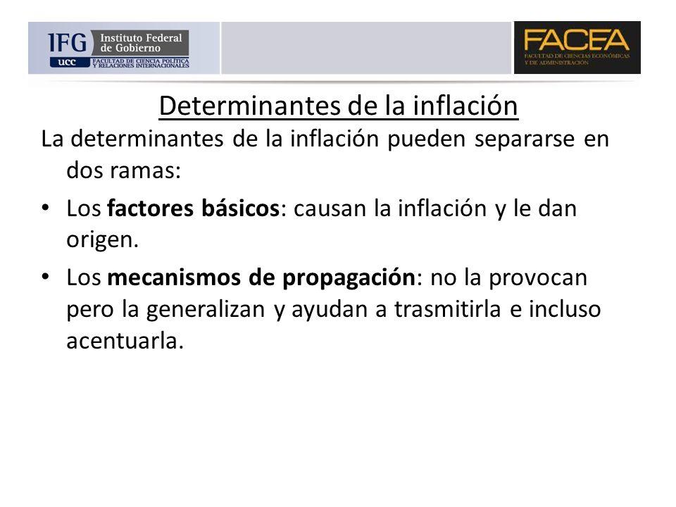Determinantes de la inflación La determinantes de la inflación pueden separarse en dos ramas: Los factores básicos: causan la inflación y le dan orige