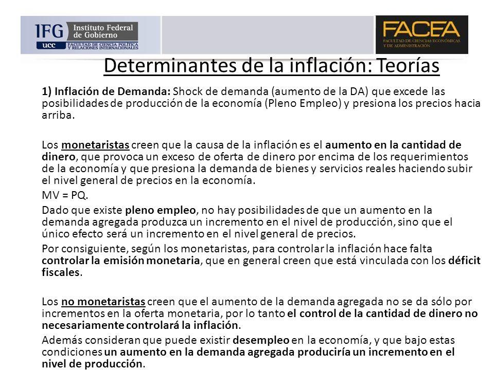 Determinantes de la inflación: Teorías 1) Inflación de Demanda: Shock de demanda (aumento de la DA) que excede las posibilidades de producción de la e