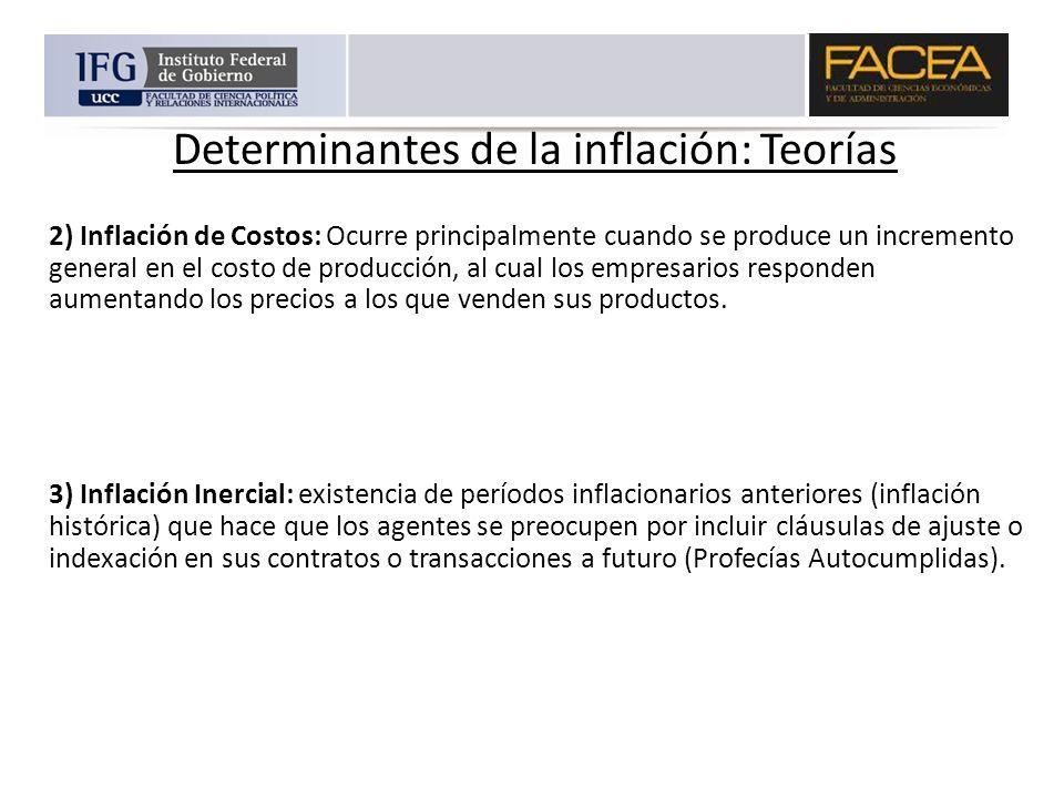 Determinantes de la inflación: Teorías 2) Inflación de Costos: Ocurre principalmente cuando se produce un incremento general en el costo de producción