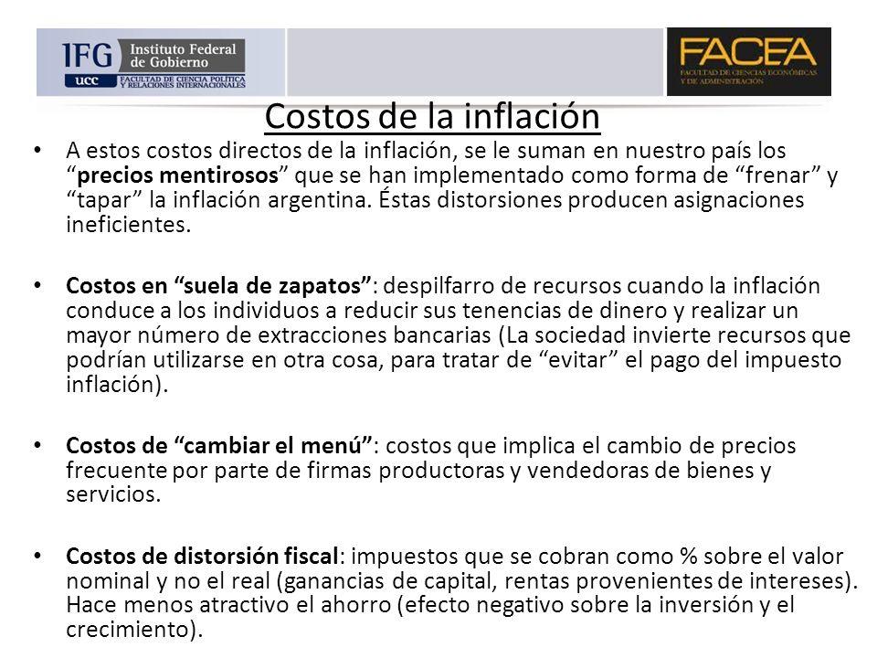 Costos de la inflación A estos costos directos de la inflación, se le suman en nuestro país losprecios mentirosos que se han implementado como forma d