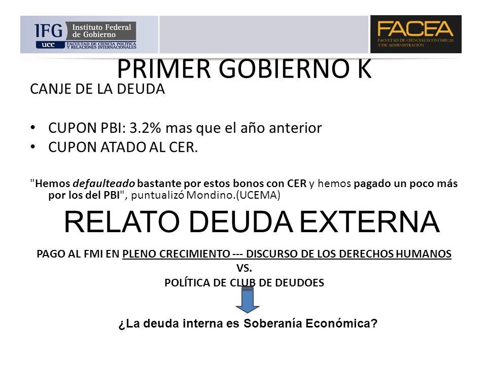 PRIMER GOBIERNO K CANJE DE LA DEUDA CUPON PBI: 3.2% mas que el año anterior CUPON ATADO AL CER.