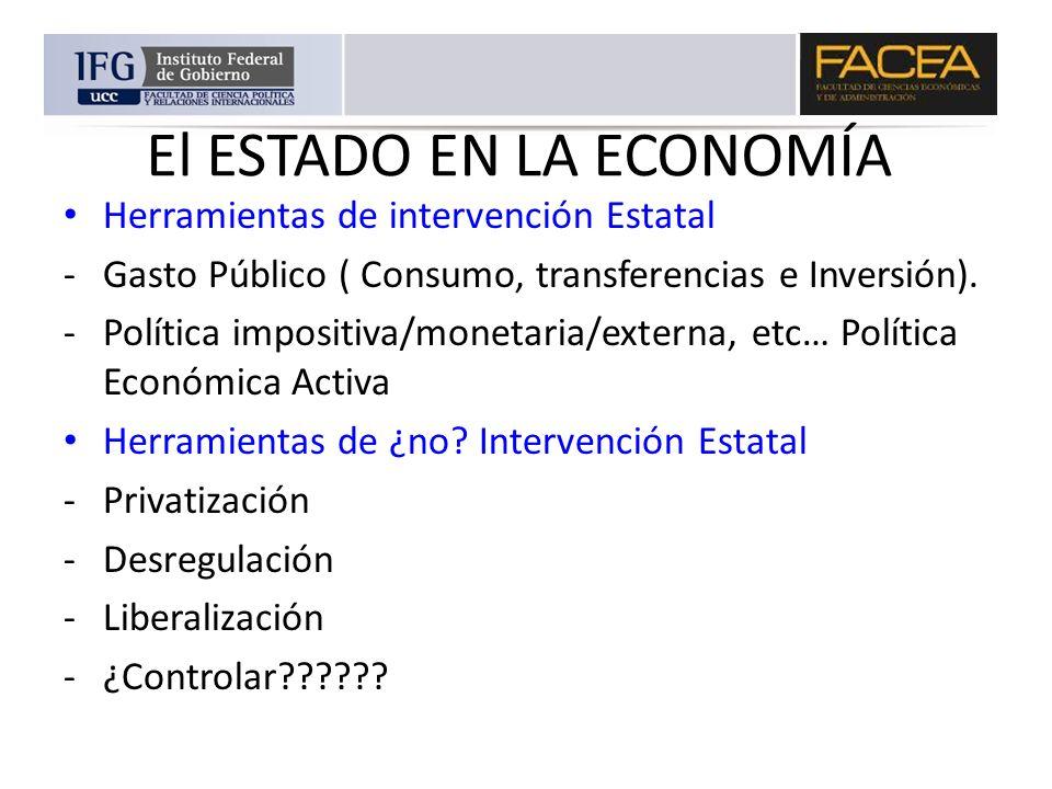 El ESTADO EN LA ECONOMÍA Herramientas de intervención Estatal -Gasto Público ( Consumo, transferencias e Inversión). -Política impositiva/monetaria/ex