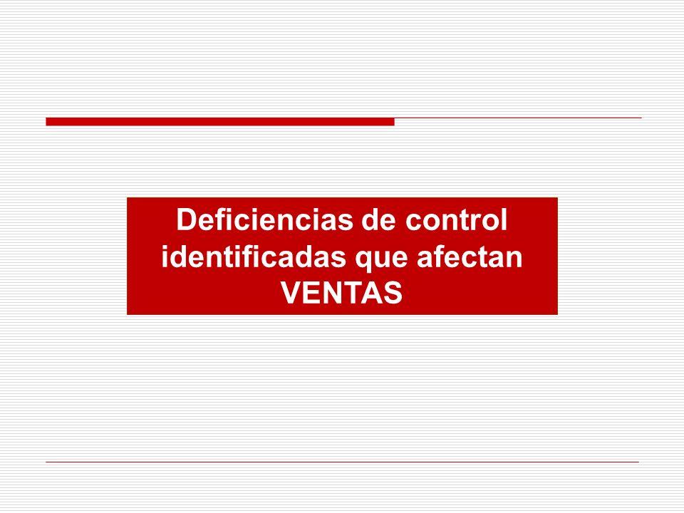 Deficiencias de control identificadas que afectan VENTAS
