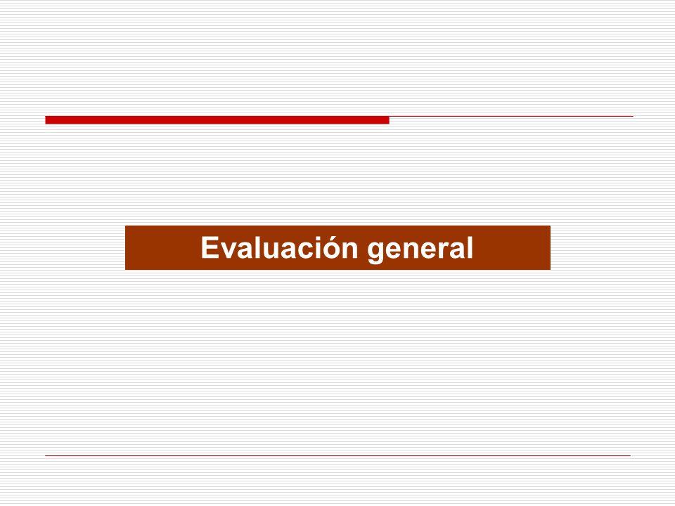 EVALUACIÓN GENERAL GESTIÓN GERENCIAL Códigos de evaluación: Evaluación Riesgos Calificación VerdeBienBajo950 -- 1,000 100% BlancoRegularModerado900 -- 949 50% CaféMalAlto 800 -- 899 0% RojoPésimoCrítico 0 -- 799 0% Pierde el 20% de su evaluación asignada a auditoría