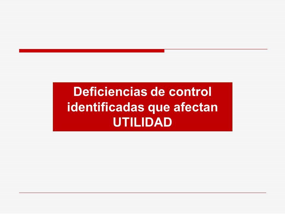 Deficiencias de control identificadas que afectan UTILIDAD