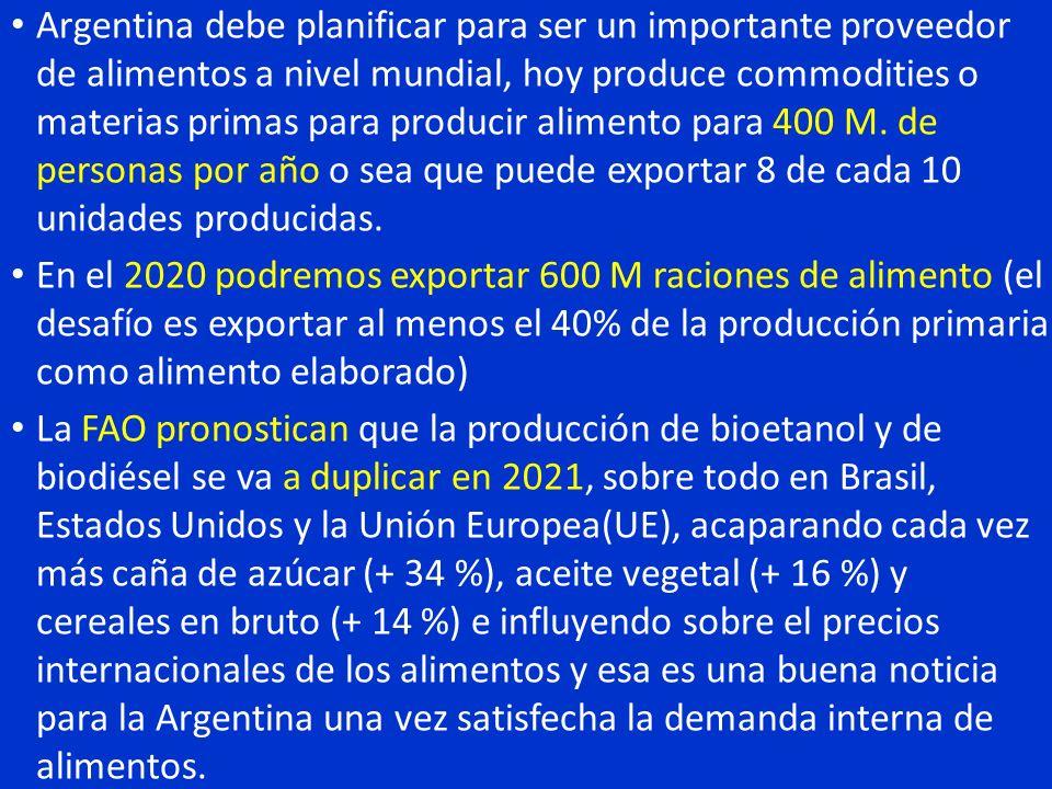 Argentina debe planificar para ser un importante proveedor de alimentos a nivel mundial, hoy produce commodities o materias primas para producir alime