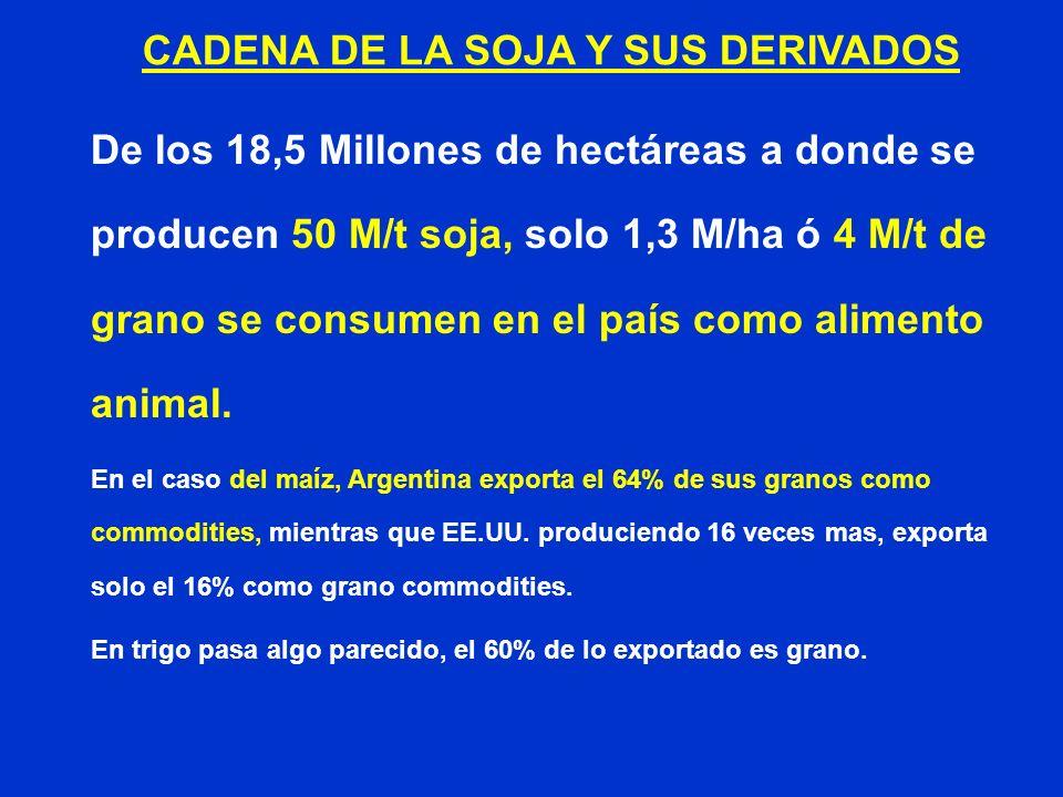 De los 18,5 Millones de hectáreas a donde se producen 50 M/t soja, solo 1,3 M/ha ó 4 M/t de grano se consumen en el país como alimento animal. En el c
