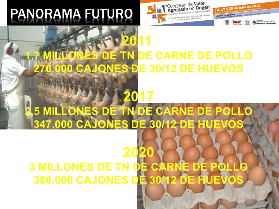 2011 1,7 MILLONES DE TN DE CARNE DE POLLO 270.000 CAJONES DE 30/12 DE HUEVOS 2017 2,5 MILLONES DE TN DE CARNE DE POLLO 347.000 CAJONES DE 30/12 DE HUE