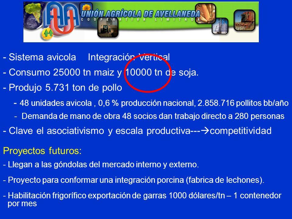 - Sistema avicola Integración Vertical - Consumo 25000 tn maiz y 10000 tn de soja. - Produjo 5.731 ton de pollo - 48 unidades avicola, 0,6 % producció