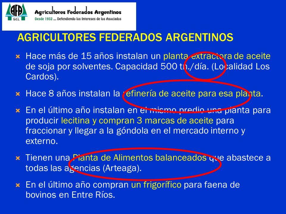 AGRICULTORES FEDERADOS ARGENTINOS Hace más de 15 años instalan un planta extractora de aceite de soja por solventes. Capacidad 500 tn./día. (Localidad