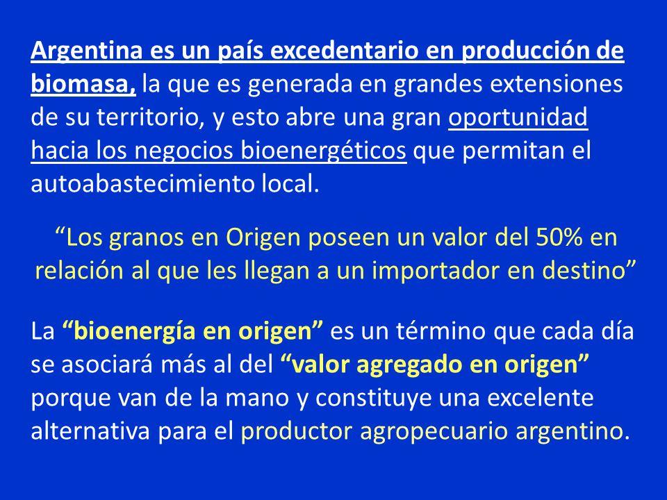Argentina es un país excedentario en producción de biomasa, la que es generada en grandes extensiones de su territorio, y esto abre una gran oportunid