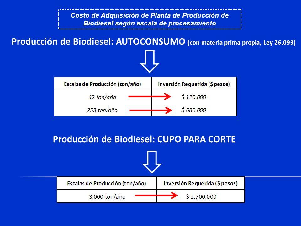 Producción de Biodiesel: AUTOCONSUMO (con materia prima propia, Ley 26.093) Costo de Adquisición de Planta de Producción de Biodiesel según escala de