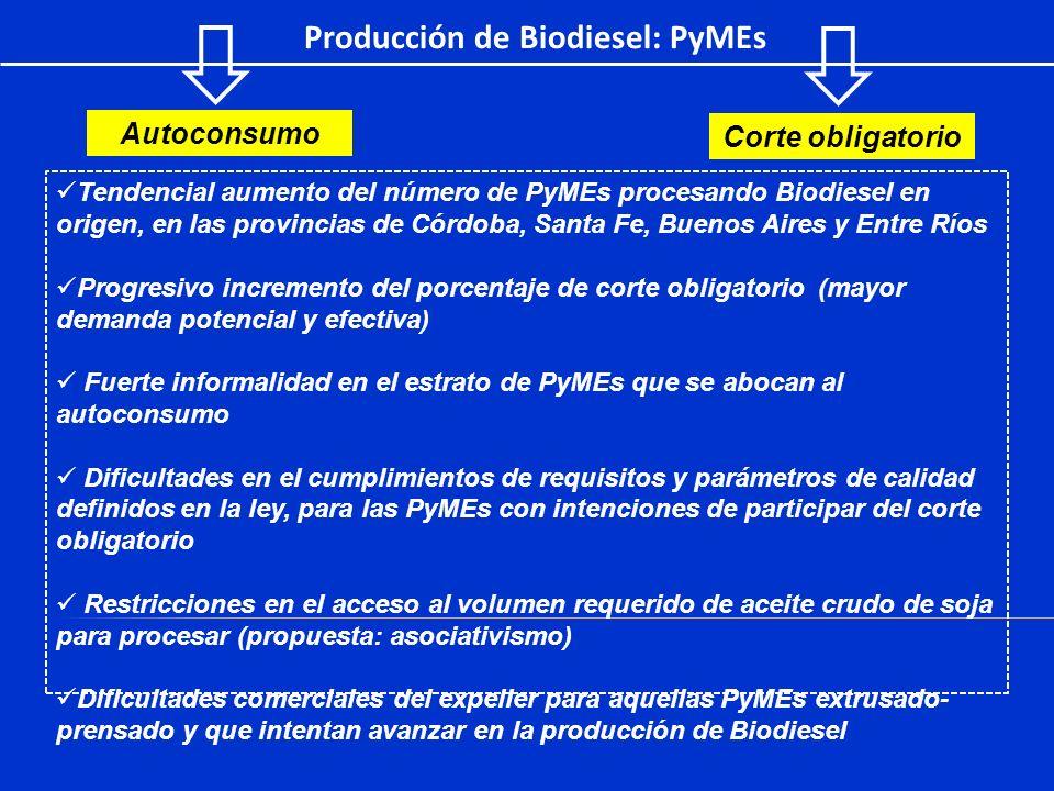 Producción de Biodiesel: PyMEs Tendencial aumento del número de PyMEs procesando Biodiesel en origen, en las provincias de Córdoba, Santa Fe, Buenos A