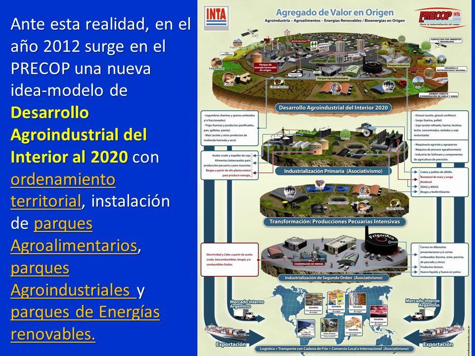 Ante esta realidad, en el año 2012 surge en el PRECOP una nueva idea-modelo de Desarrollo Agroindustrial del Interior al 2020 con ordenamiento territo