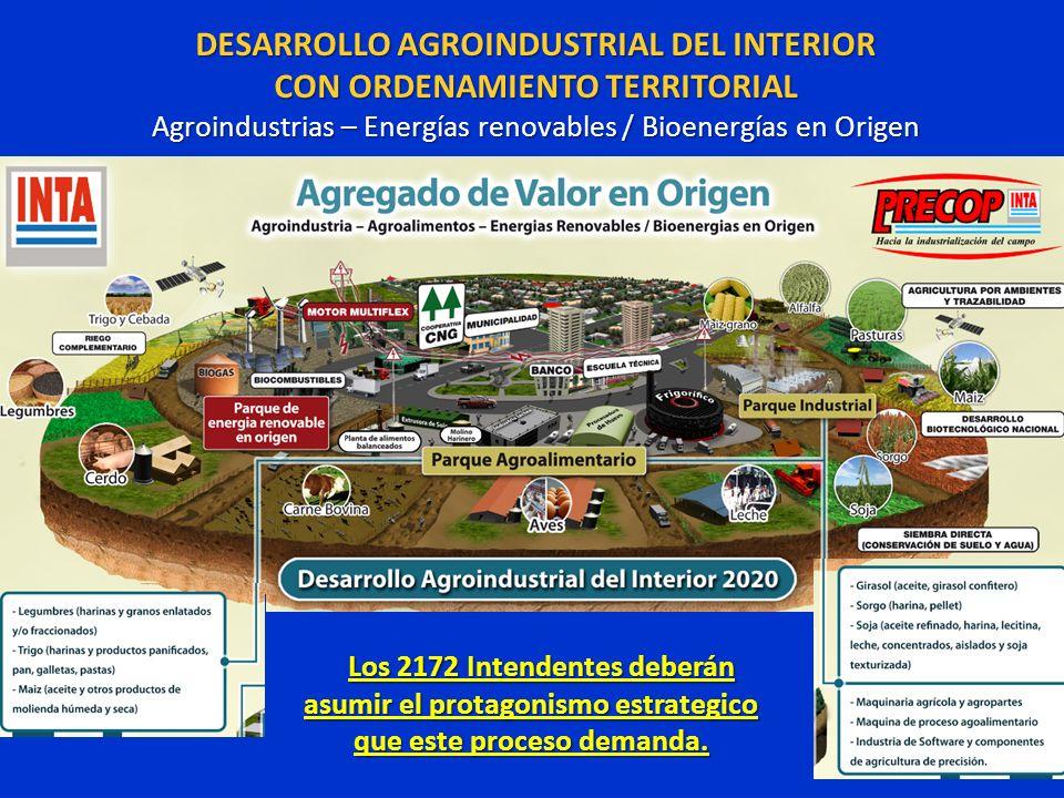 DESARROLLO AGROINDUSTRIAL DEL INTERIOR CON ORDENAMIENTO TERRITORIAL Agroindustrias – Energías renovables / Bioenergías en Origen Los 2172 Intendentes