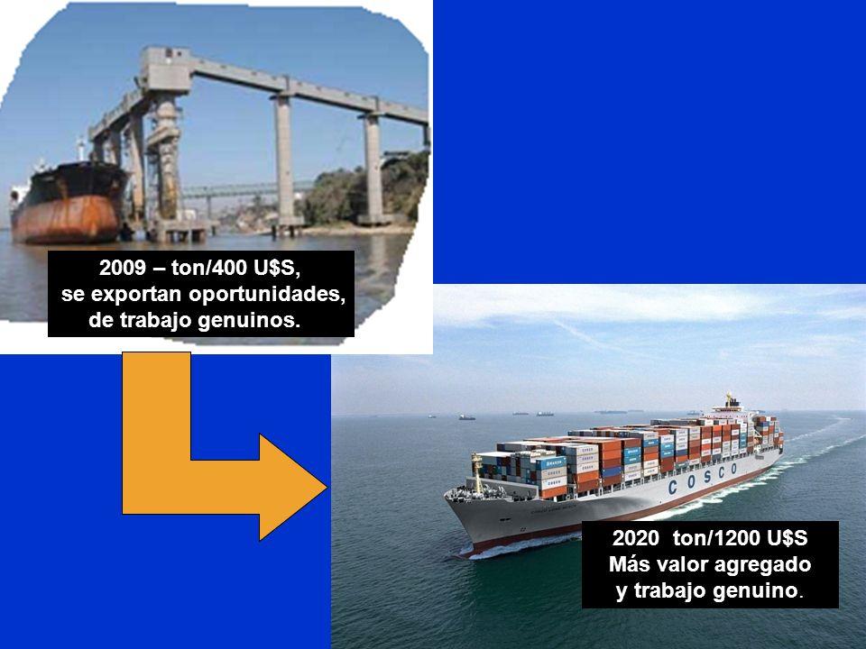 2009 – ton/400 U$S, se exportan oportunidades, de trabajo genuinos. 2020 ton/1200 U$S Más valor agregado y trabajo genuino.