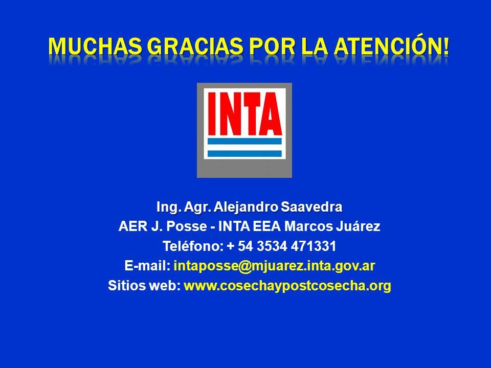 Ing. Agr. Alejandro Saavedra AER J. Posse - INTA EEA Marcos Juárez Teléfono: + 54 3534 471331 E-mail: intaposse@mjuarez.inta.gov.ar Sitios web: www.co