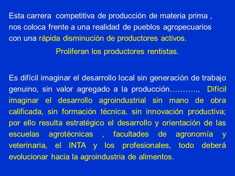 Esta carrera competitiva de producción de materia prima, nos coloca frente a una realidad de pueblos agropecuarios con una rápida disminución de produ