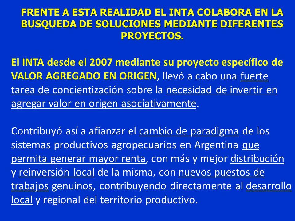 FRENTE A ESTA REALIDAD EL INTA COLABORA EN LA BUSQUEDA DE SOLUCIONES MEDIANTE DIFERENTES PROYECTOS. El INTA desde el 2007 mediante su proyecto específ