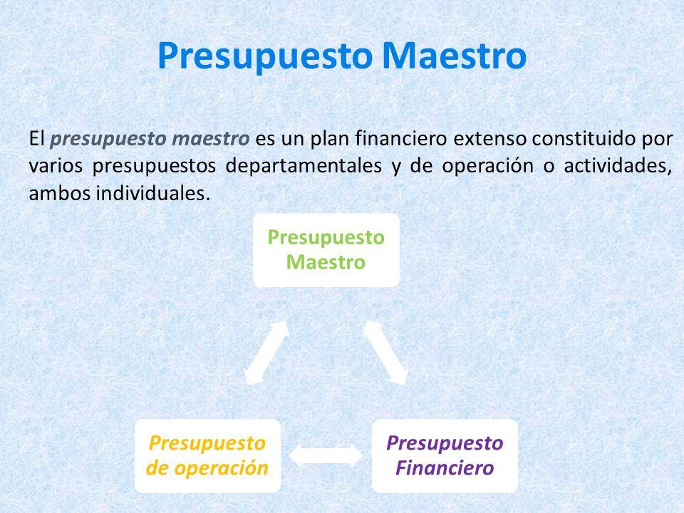 Presupuesto Maestro El presupuesto maestro es un plan financiero extenso constituido por varios presupuestos departamentales y de operación o actividades, ambos individuales.
