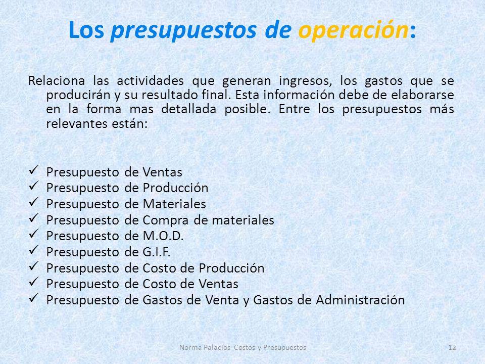 Los presupuestos de operación: Relaciona las actividades que generan ingresos, los gastos que se producirán y su resultado final.