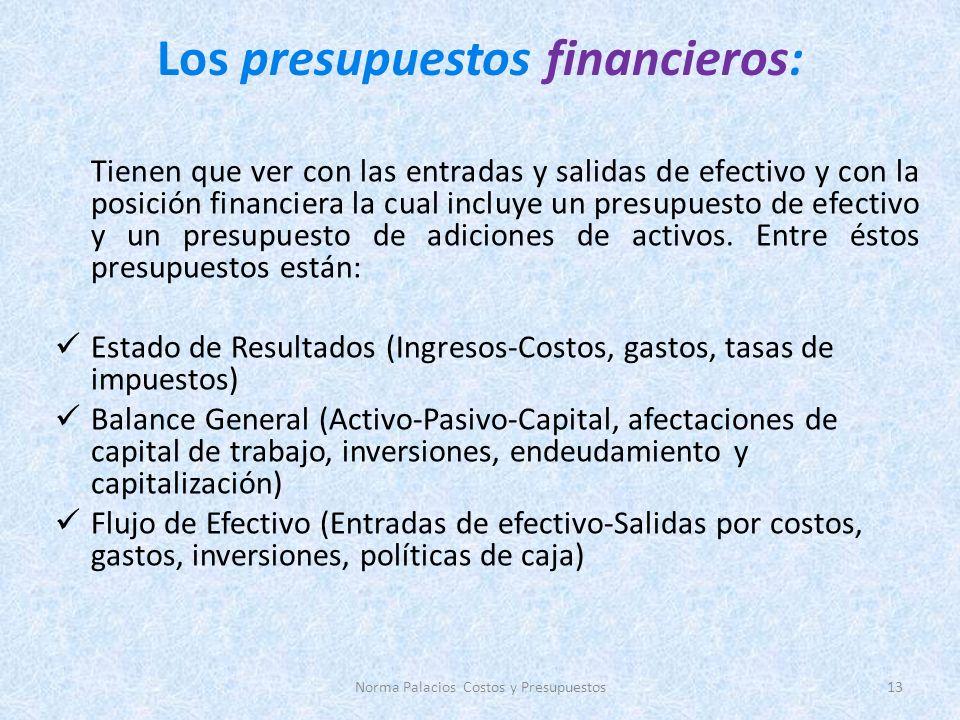 Los presupuestos financieros: Tienen que ver con las entradas y salidas de efectivo y con la posición financiera la cual incluye un presupuesto de efectivo y un presupuesto de adiciones de activos.