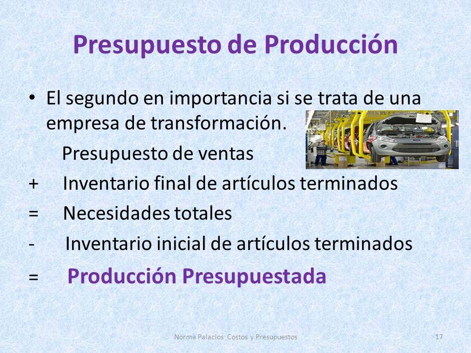 Presupuesto de Producción El segundo en importancia si se trata de una empresa de transformación. Presupuesto de ventas + Inventario final de artículo