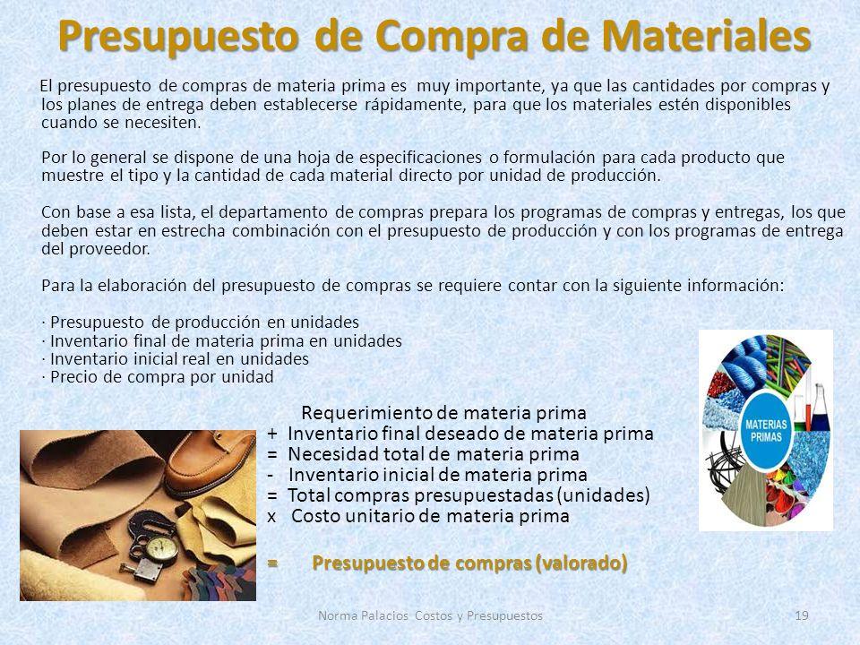 Presupuesto de Compra de Materiales El presupuesto de compras de materia prima es muy importante, ya que las cantidades por compras y los planes de entrega deben establecerse rápidamente, para que los materiales estén disponibles cuando se necesiten.