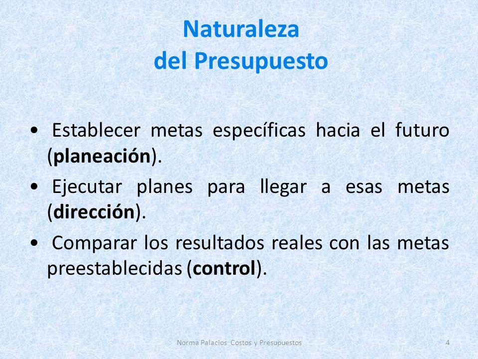 Naturaleza del Presupuesto Establecer metas específicas hacia el futuro (planeación). Ejecutar planes para llegar a esas metas (dirección). Comparar l