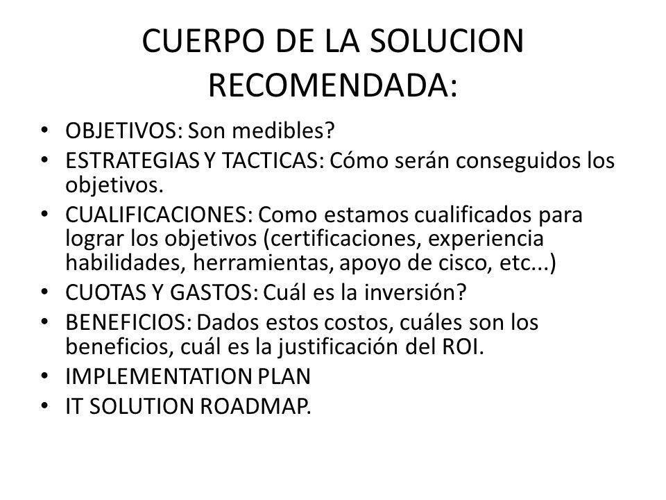 IT SOLUTION ROADMAP: Categoria de Reto de Negocio: VALUE STATEMENT Prioridad Tiempo de implementación recomendado: Soluciones recomendadas de cisco Diseño/Integración Como entra dentro de la estructura de IT Beneficios.