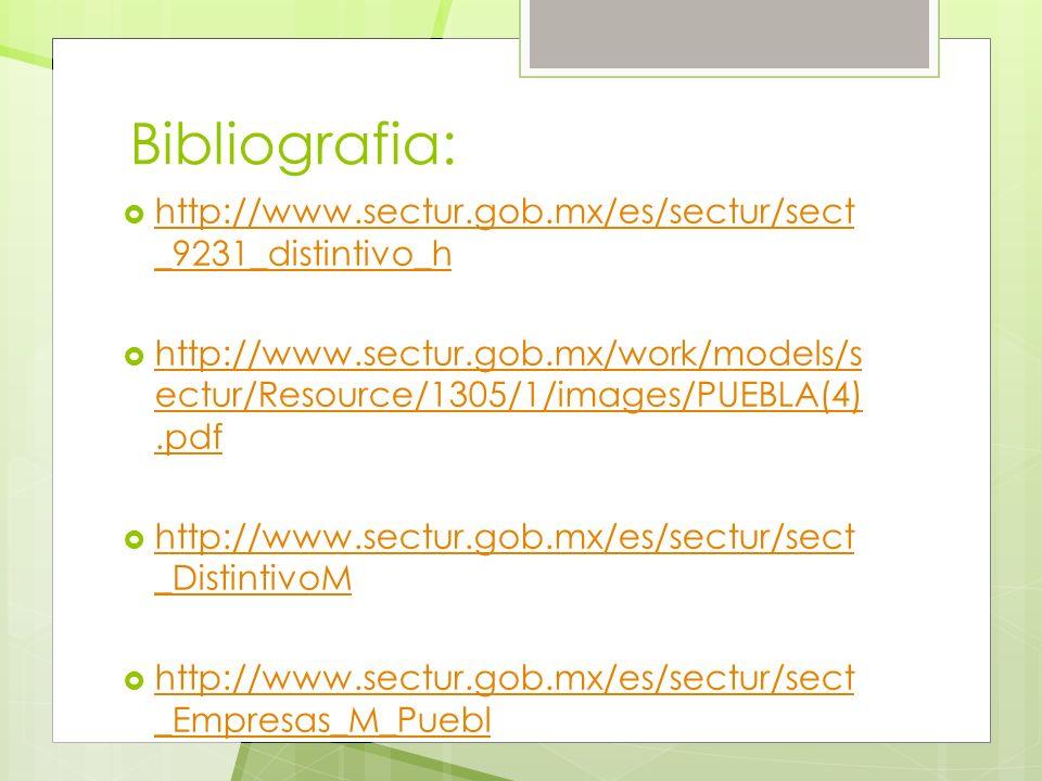 Bibliografia: http://www.sectur.gob.mx/es/sectur/sect _9231_distintivo_h http://www.sectur.gob.mx/es/sectur/sect _9231_distintivo_h http://www.sectur.