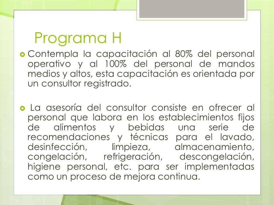 Programa H Contempla la capacitación al 80% del personal operativo y al 100% del personal de mandos medios y altos, esta capacitación es orientada por