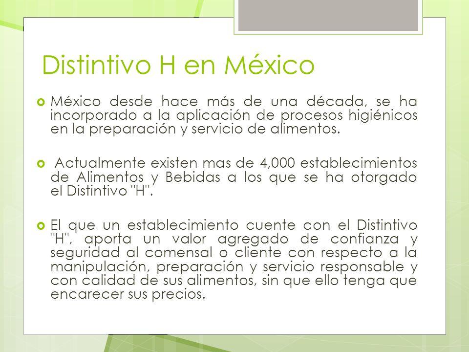 Distintivo H en México México desde hace más de una década, se ha incorporado a la aplicación de procesos higiénicos en la preparación y servicio de a
