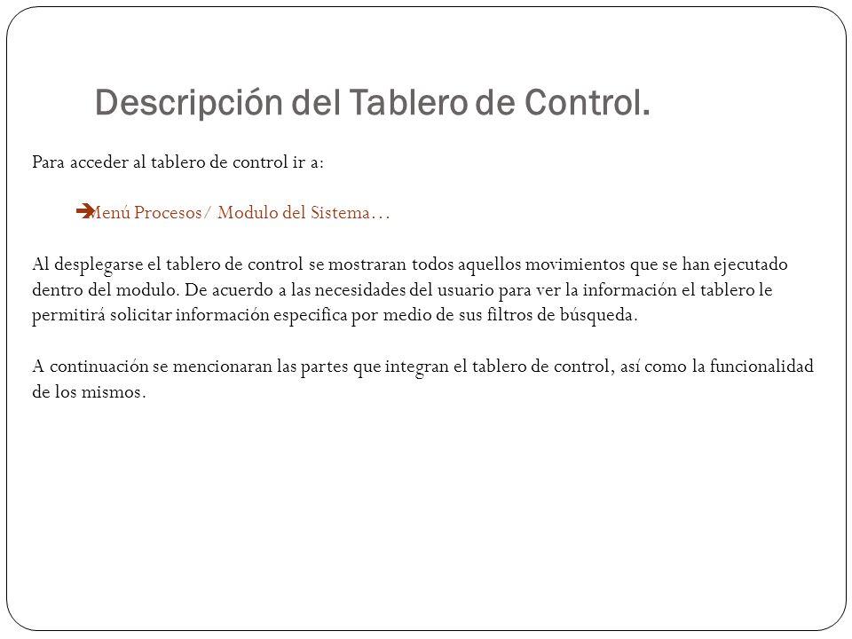 Descripción del Tablero de Control. Para acceder al tablero de control ir a: Menú Procesos/ Modulo del Sistema… Al desplegarse el tablero de control s