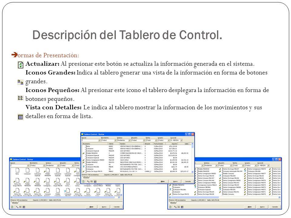 Descripción del Tablero de Control. Formas de Presentación: Actualizar: Al presionar este botón se actualiza la información generada en el sistema. Ic
