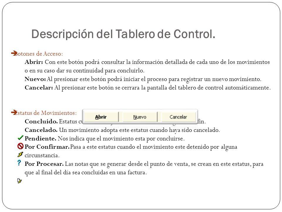 Descripción del Tablero de Control. Botones de Acceso: Abrir: Con este botón podrá consultar la información detallada de cada uno de los movimientos o