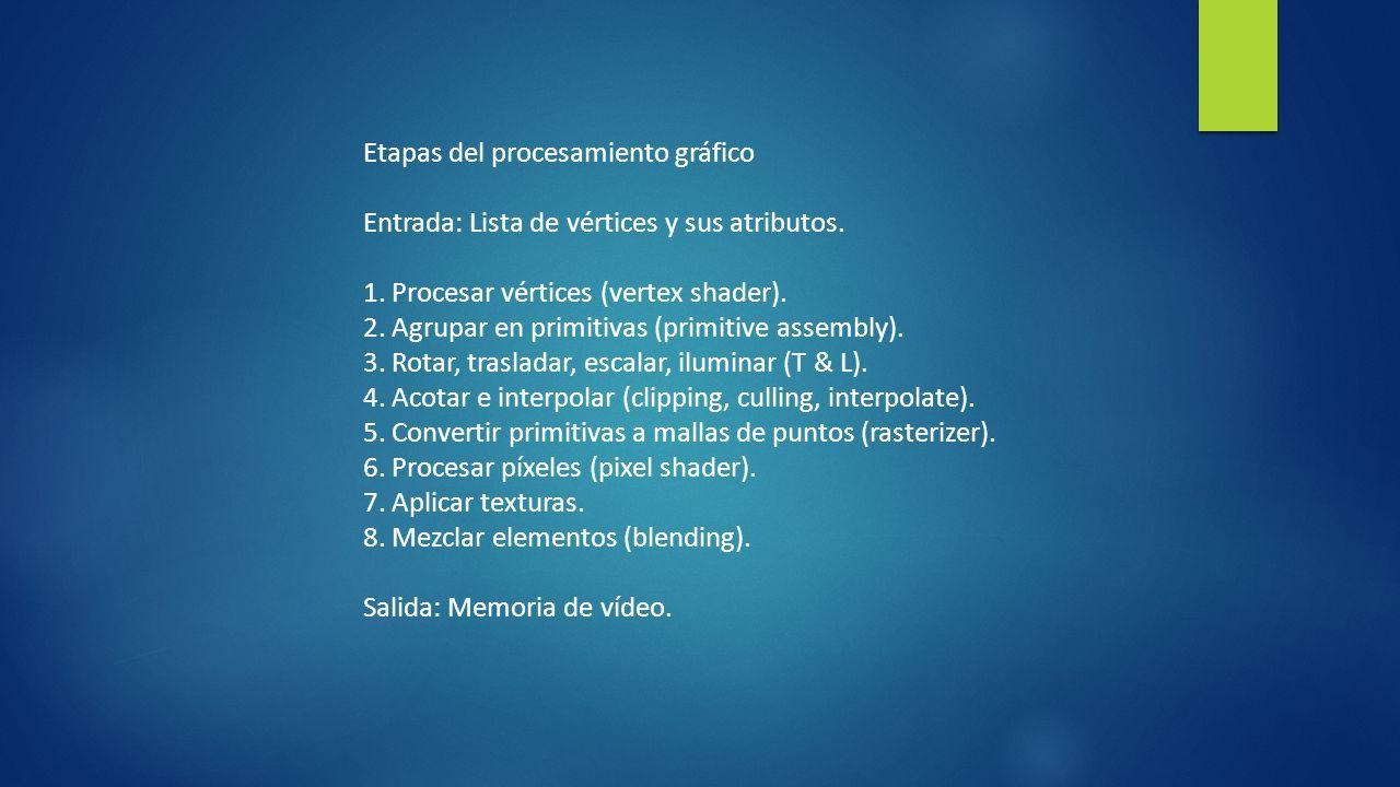 Etapas del procesamiento gráfico Entrada: Lista de vértices y sus atributos. 1. Procesar vértices (vertex shader). 2. Agrupar en primitivas (primitive
